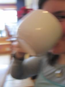 Huge mug of hot chocolate at the cafe